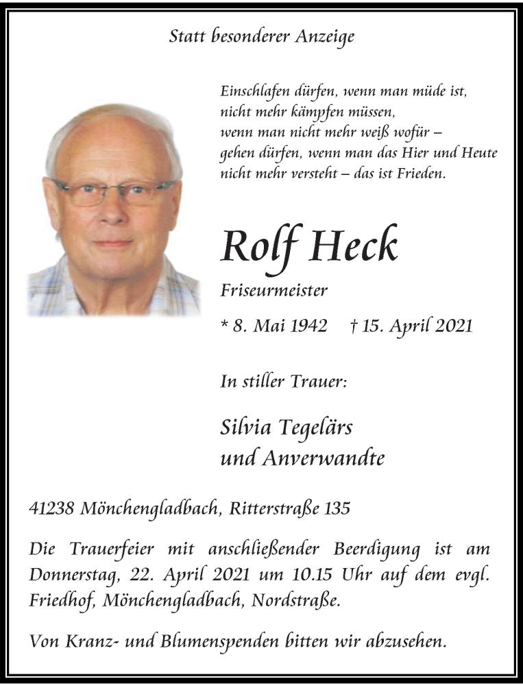 Traueranzeige für Rolf Heck vom 17.04.2021 aus Rheinische Post
