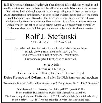 Traueranzeige von Rolf J. Stefanski von Rheinische Post