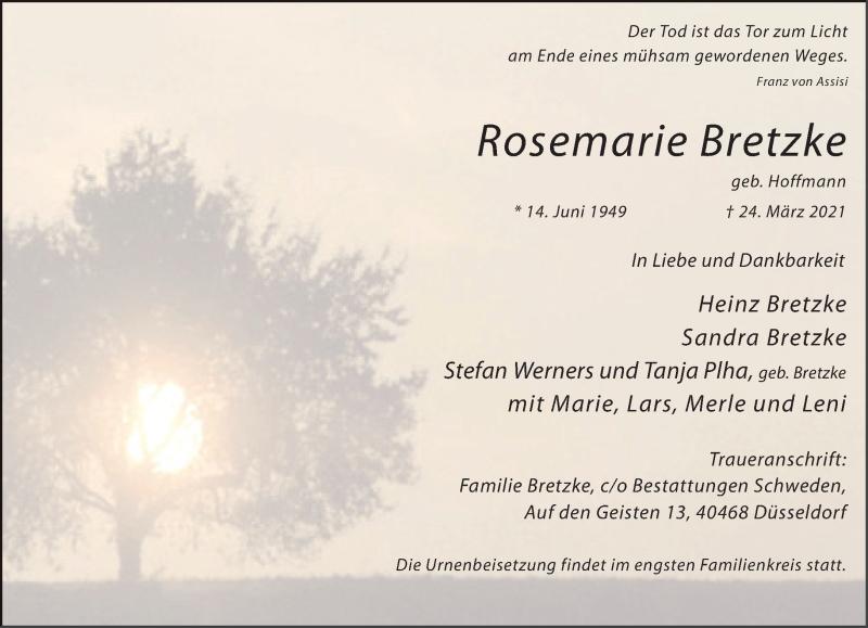 Traueranzeige für Rosemarie Bretzke vom 03.04.2021 aus Rheinische Post