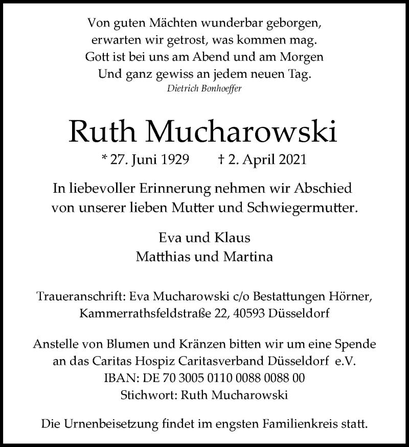 Traueranzeige für Ruth Mucharowski vom 17.04.2021 aus Rheinische Post