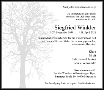 Traueranzeige von Siegfried Winkler von Rheinische Post