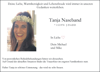 Traueranzeige von Tanja Naseband von Rheinische Post