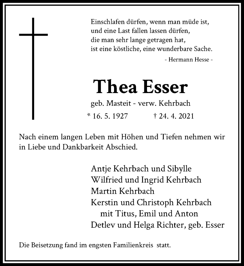 Traueranzeige für Thea Esser vom 01.05.2021 aus Rheinische Post