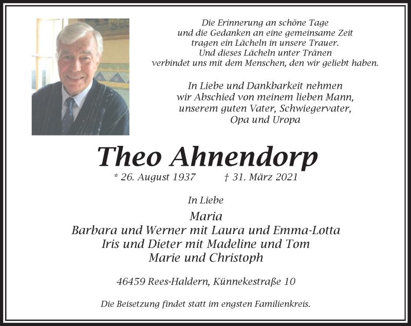 Traueranzeige für Theo Ahnendorp vom 06.04.2021 aus Rheinische Post