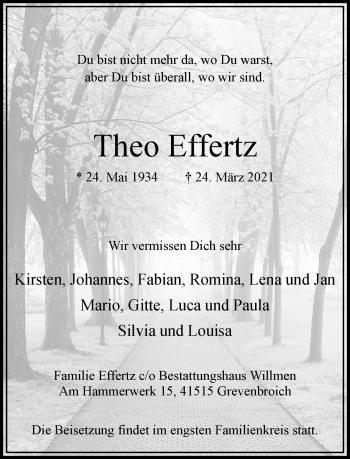 Traueranzeige von Theo Effertz von Rheinische Post