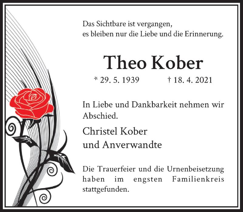Traueranzeige für Theo Kober vom 01.05.2021 aus Rheinische Post