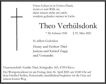 Traueranzeige von Theo Verhülsdonk von Rheinische Post