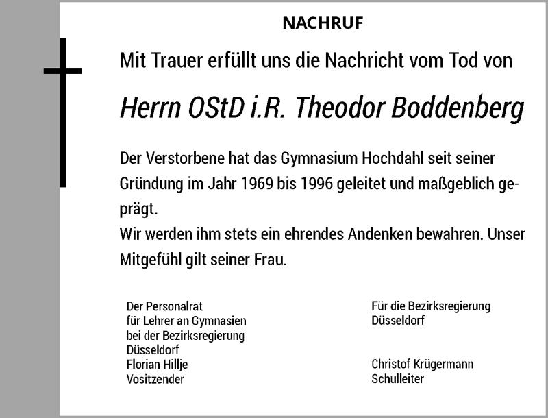 Traueranzeige für Theodor Boddenberg vom 17.04.2021 aus Rheinische Post