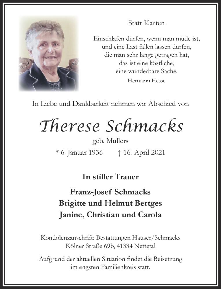 Traueranzeige für Therese Schmacks vom 17.04.2021 aus Rheinische Post