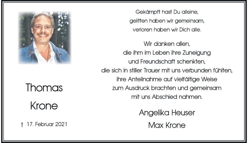 Traueranzeige für Thomas Krone vom 03.04.2021 aus Rheinische Post