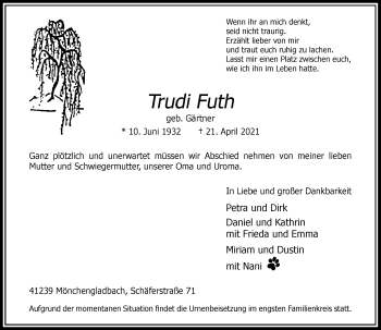 Traueranzeige von Trudi Futh von Rheinische Post