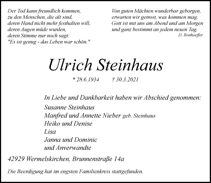 Traueranzeige für Ulrich Steinhaus vom 10.04.2021 aus Rheinische Post
