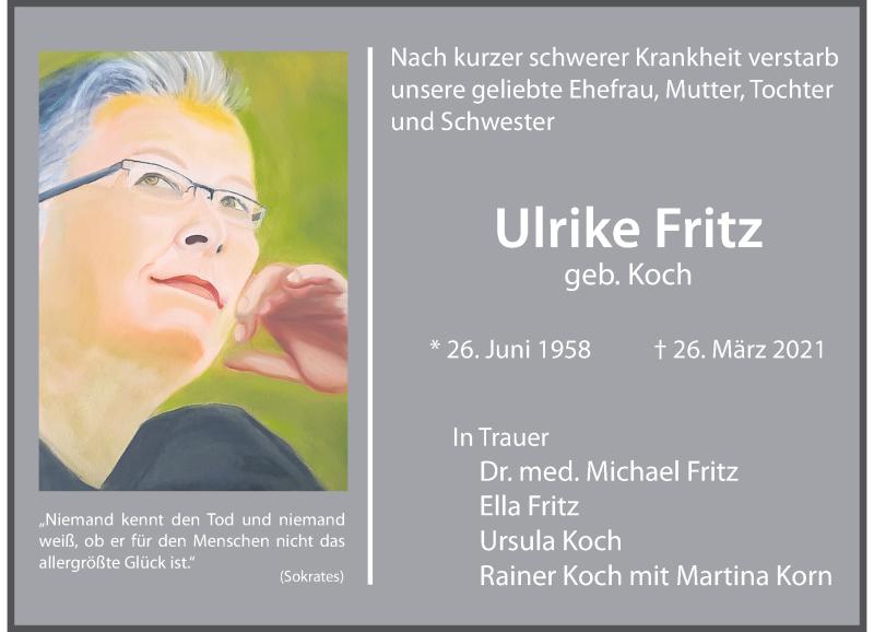 Traueranzeige für Ulrike Fritz vom 03.04.2021 aus Rheinische Post