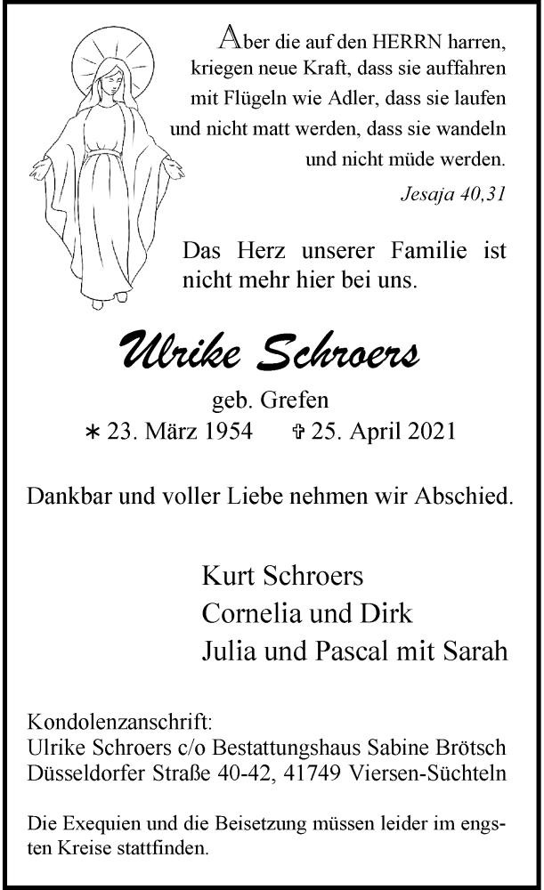 Traueranzeige für Ulrike Schroers vom 01.05.2021 aus Rheinische Post
