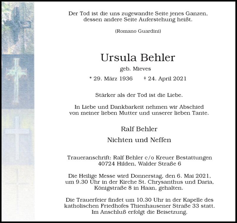 Traueranzeige für Ursula Behler vom 01.05.2021 aus Rheinische Post