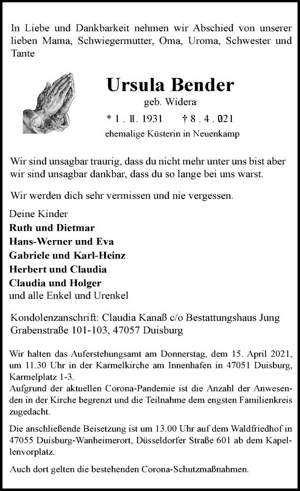 Traueranzeige für Ursula Bender vom 13.04.2021 aus Rheinische Post