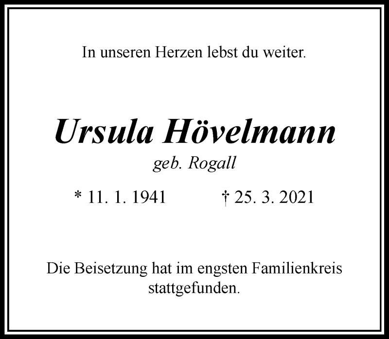 Traueranzeige für Ursula Hövelmann vom 17.04.2021 aus Rheinische Post