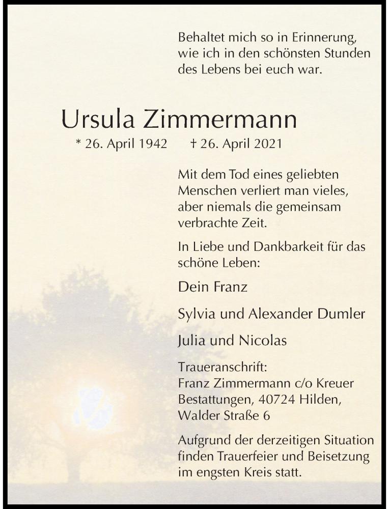 Traueranzeige für Ursula Zimmermann vom 08.05.2021 aus Rheinische Post