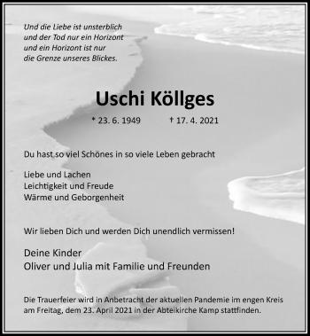 Traueranzeige von Uschi Köllges von Rheinische Post