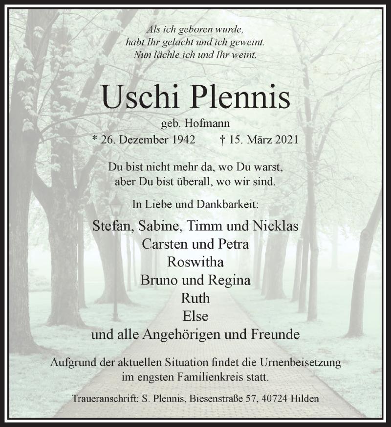 Traueranzeige für Uschi Plennis vom 03.04.2021 aus Rheinische Post