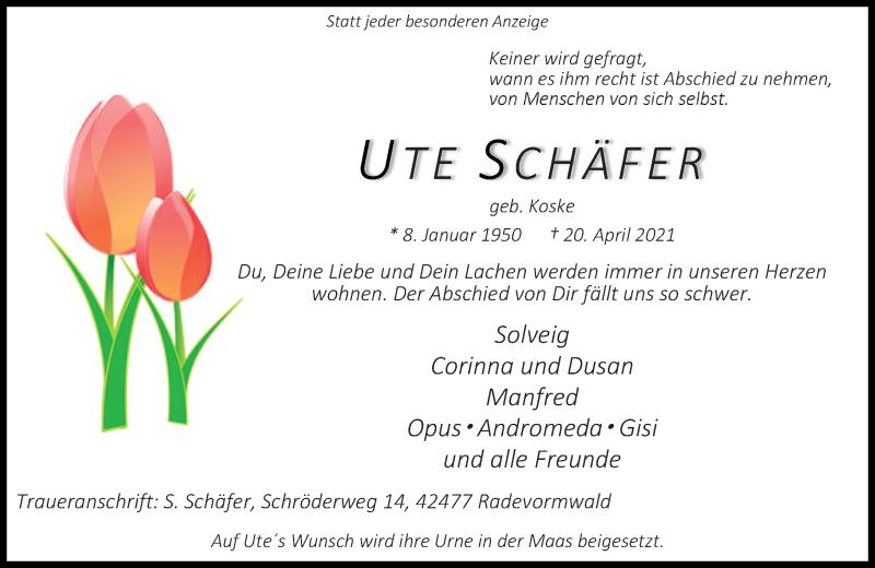 Traueranzeige für Ute Schäfer vom 01.05.2021 aus Rheinische Post