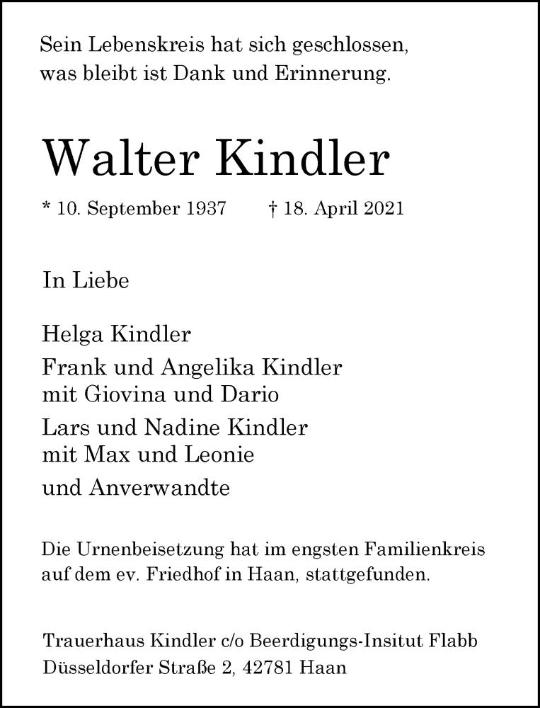 Traueranzeige für Walter Kindler vom 01.05.2021 aus Rheinische Post