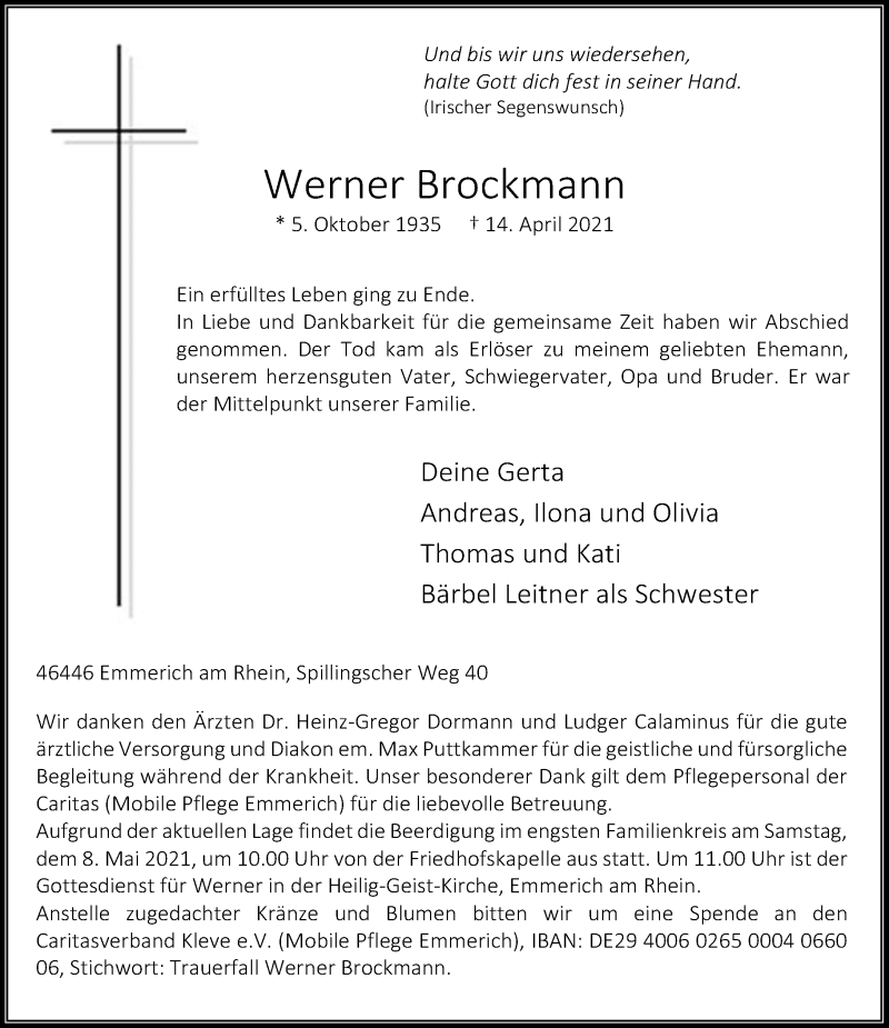 Traueranzeige für Werner Brockmann vom 30.04.2021 aus Rheinische Post