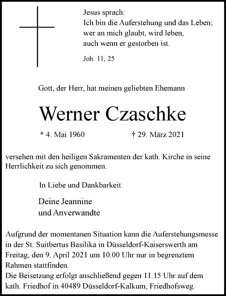 Traueranzeige für Werner Czaschke vom 03.04.2021 aus Rheinische Post
