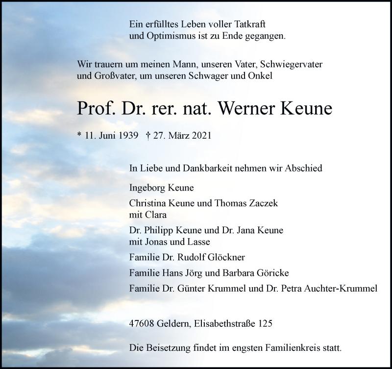 Traueranzeige für Werner Keune vom 03.04.2021 aus Rheinische Post