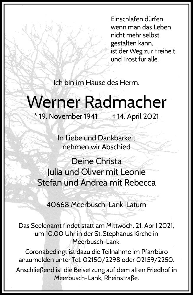 Traueranzeige für Werner Radmacher vom 17.04.2021 aus Rheinische Post