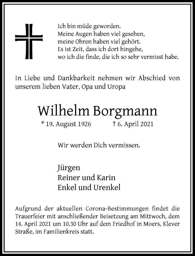 Traueranzeige für Wilhelm Borgmann vom 10.04.2021 aus Rheinische Post