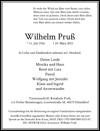 Traueranzeige von Wilhelm Pruß von Rheinische Post