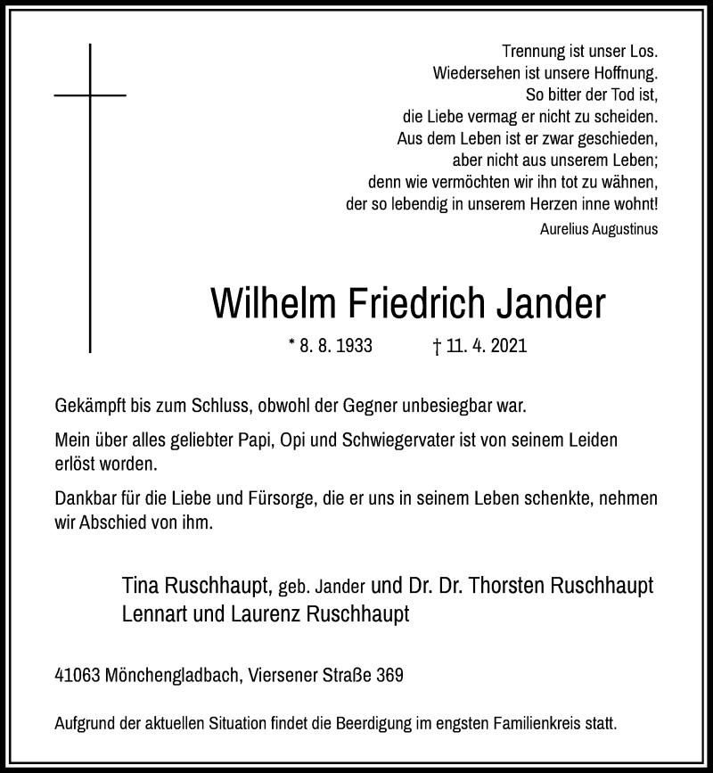 Traueranzeige für Wilhelm Friedrich Jander vom 17.04.2021 aus Rheinische Post