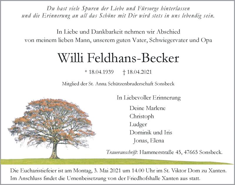 Traueranzeige für Willi Feldhans-Becker vom 21.04.2021 aus Rheinische Post
