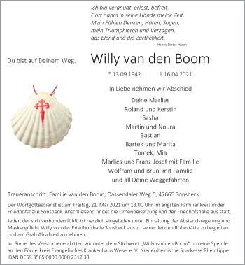 Traueranzeige von Willy van den Boom von Rheinische Post