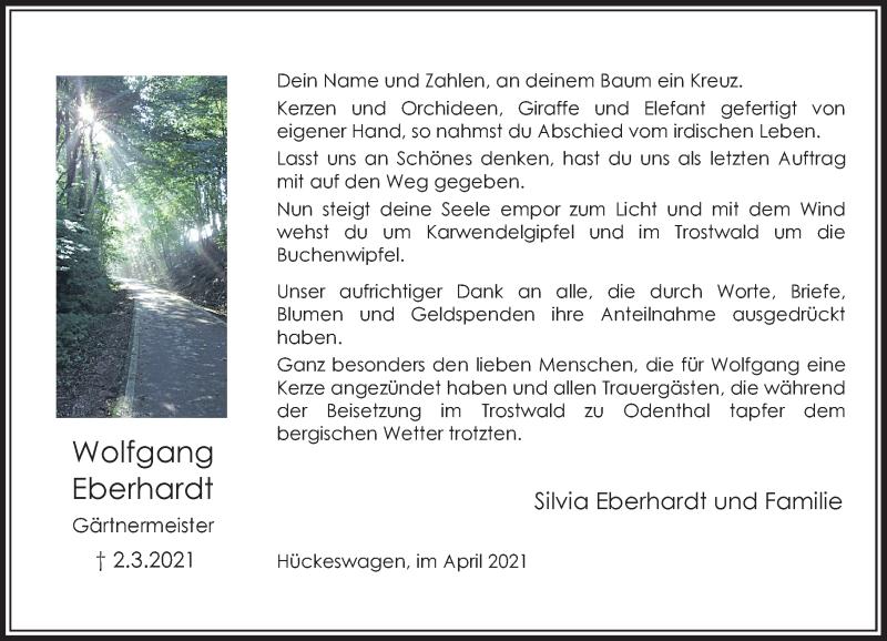 Traueranzeige für Wolfgang Eberhardt vom 17.04.2021 aus Rheinische Post