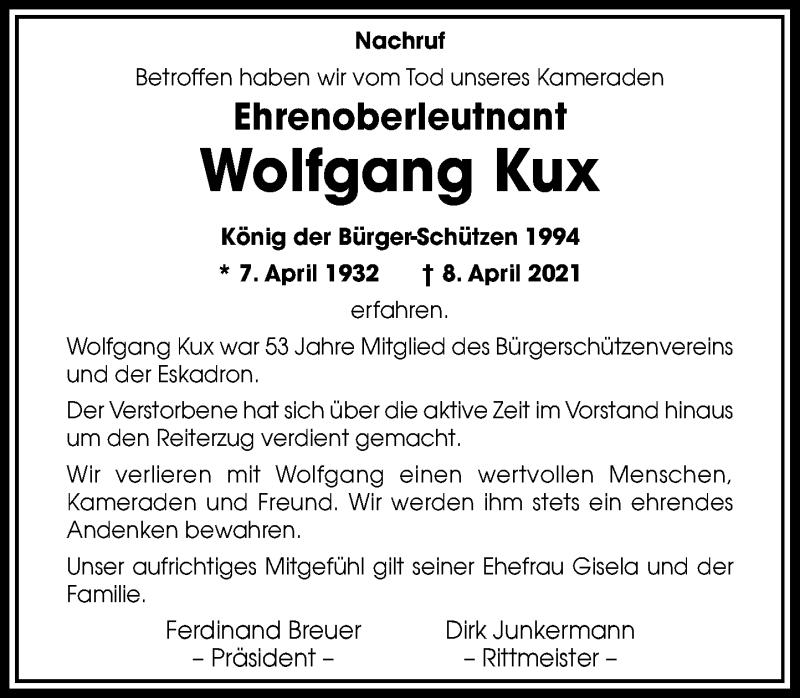 Traueranzeige für Wolfgang Kux vom 28.04.2021 aus Rheinische Post