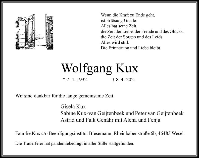 Traueranzeige für Wolfgang Kux vom 26.04.2021 aus Rheinische Post