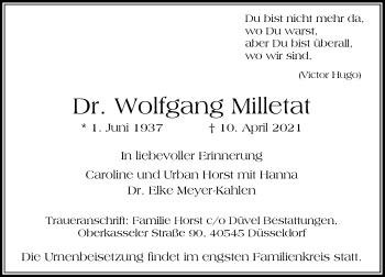 Traueranzeige von Wolfgang Milletat von Rheinische Post
