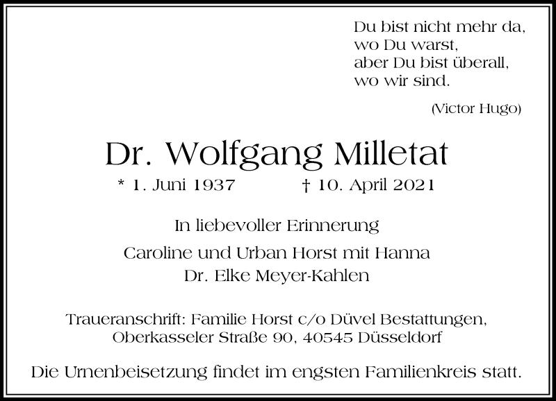 Traueranzeige für Wolfgang Milletat vom 17.04.2021 aus Rheinische Post