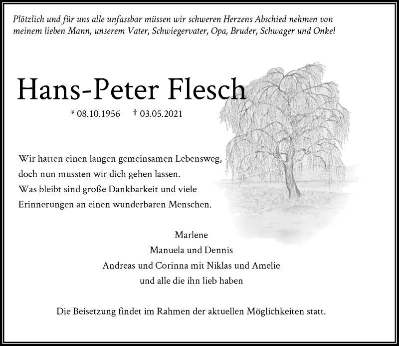 Traueranzeige für Hans-Peter Flesch vom 08.05.2021 aus Rheinische Post