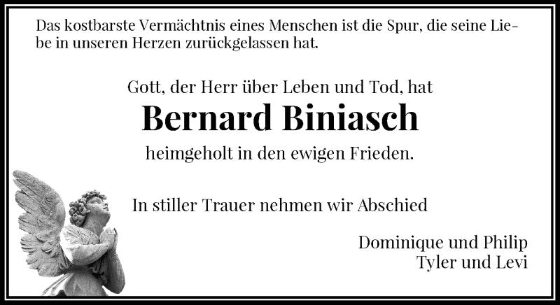 Traueranzeige für Bernard Biniasch vom 04.05.2021 aus Rheinische Post