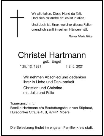Traueranzeige von Christel Hartmann von Rheinische Post