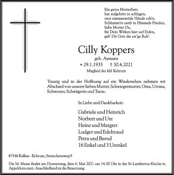 Traueranzeige von Cilly Koppers von Rheinische Post