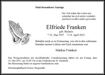 Traueranzeige von Elfriede Franken von Rheinische Post