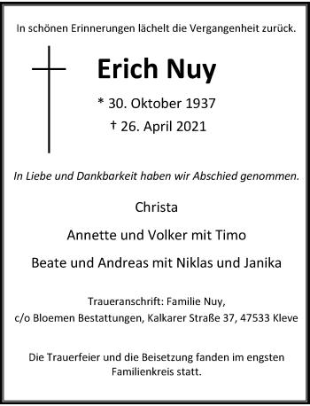 Traueranzeige von Erich Nuy von Rheinische Post