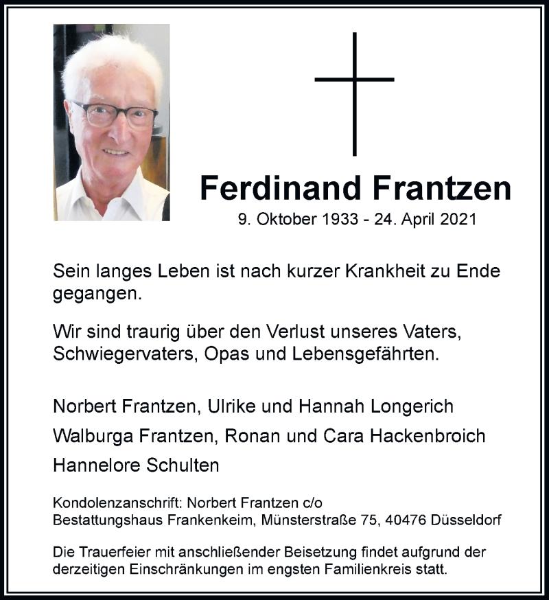 Traueranzeige für Ferdinand Frantzen vom 08.05.2021 aus Rheinische Post