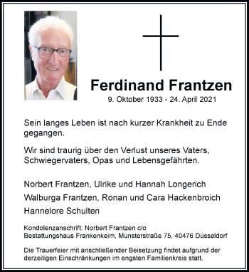 Traueranzeige von Ferdinand Frantzen von Rheinische Post
