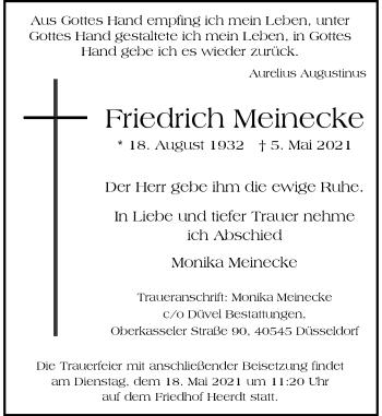 Traueranzeige von Friedrich Meinecke von Rheinische Post