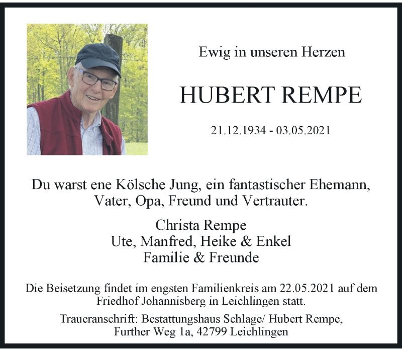 Traueranzeige für Hubert Rempe vom 08.05.2021 aus Rheinische Post